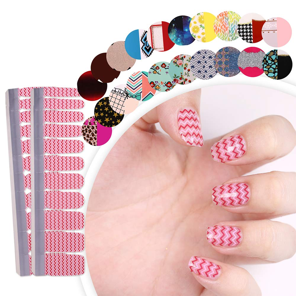 HIGH'S EXTRE ADHESION 20pcs Nail Art Transfer Decals Sticker Pattern Series The Cocktail Collection Manicure DIY Nail Polish Strips Wraps for Wedding,Party,Shopping,Travelling (Radio Wave)