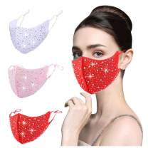 YUESUO 4PCS Black Rhinestone Face Cloth Mask Reusable Breathable Washable Glitter Bling Sequin Sparkly Diamond Designe,r Good Gift for Women