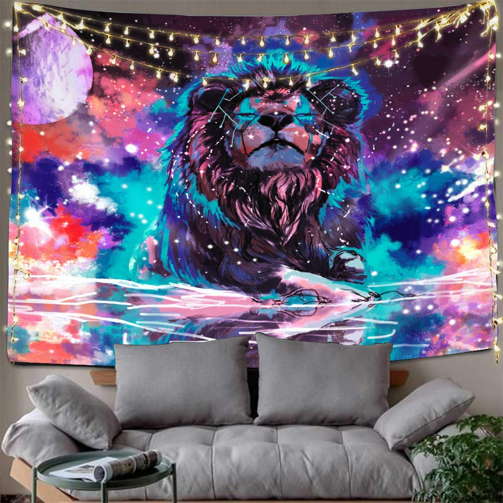 Hexagram Lion Tapestry Wall Hanging Hippie Zodiac Tapestry Bohemian Trippy Tapestry Psychedelic Space Wall Tapestry for Living Room College Dorm Room Decorations