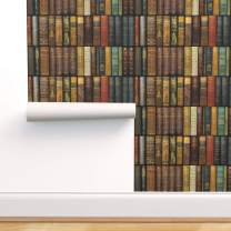 Spoonflower Peel and Stick Removable Wallpaper, Book Library Shelves Witty Victorian Vintage Photographic Print, Self-Adhesive Wallpaper 24in x 144in Roll