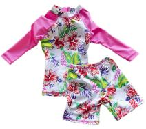 Baby Girls Kids Two Piece Vintage Flower Swimwear Rash Guard UV Sun Protection Swimsuit Bathing Suits
