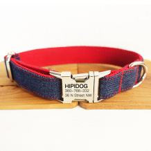 hipidog Personalized Dog Collar, Custom Engraving with Pet Name and Phone Number, Adjustable Tough Nylon ID Collar, Matching Leash Available Separately- Tagless Info Collar