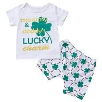 St.Patrick's Day Newborn Baby Boy Outfit T-Shirt Top+ Shamrock Short Pant Set