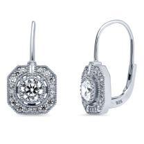 BERRICLE Rhodium Plated Sterling Silver Cubic Zirconia CZ Art Deco Leverback Wedding Dangle Drop Earrings