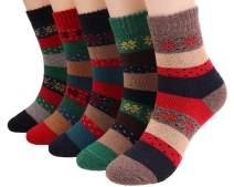 5 Pairs Womens Thick Knit Wool Socks Vintage Warm Winter Crew Sock WA02