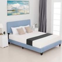 mecor Queen Bed Frame with Headboard - Upholstered Linen Platform Bed/Mattress Foundation/Easy Assembly/Strong Wood Slat Support (Blue,Queen)
