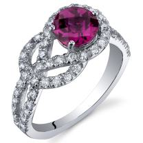 Gracefully Exquisite 1.00 Carats Created Ruby Ring in Sterling Silver Rhodium Nickel Finish Sizes 5 to 9