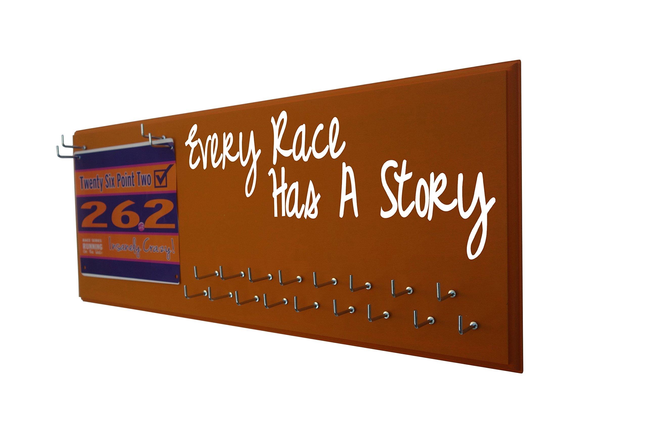 Running On The Wall - Race Bib Medal Display Rack- Wall Mounted Sports Medal Holder Hanger 5K, 10K Marathons Runners - Every Race HAS A Story