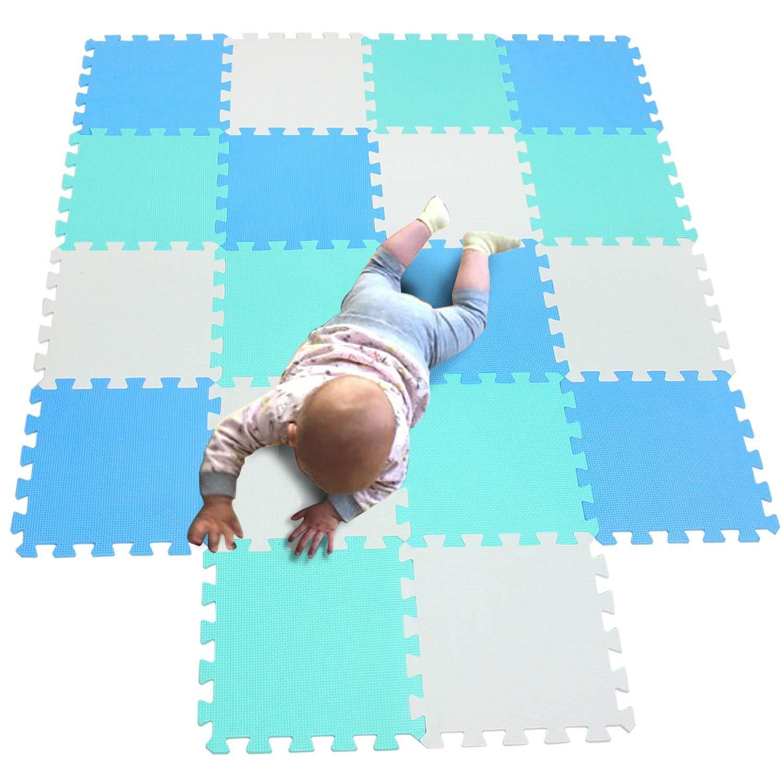 MQIAOHAM 18 pcs Children Foam Play mat playmat Gym Rug Baby Toddler mats for Infants Play-mat Kid Portable edu Soft Kids infantino Tiles Toddlers Floor Large Carpet Outside White Blue Green 101107108