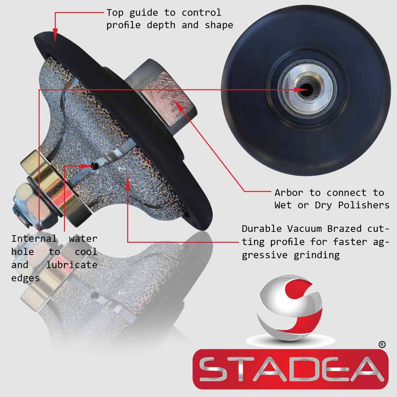 "Stadea Diamond Profile Wheel Grinding Wheel Ogee 3/4"" for Stone Wet Polisher Grinder Granite Marble Concrete"