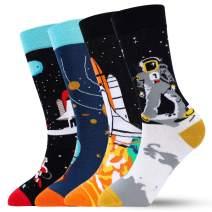 Men Novelty Dress Socks – Colorful Funky Funny Socks Casual Crazy Crew Socks Christmas Gift Pack for Men Womens