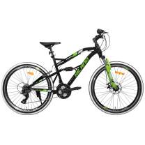 Hiland 24 26 Inch Mountain Bike with Suspension Fork/Disc Brake, 21 Speeds Shimano Drivetrain, Free Kickstand Included,Black&White&Blue&Green Color