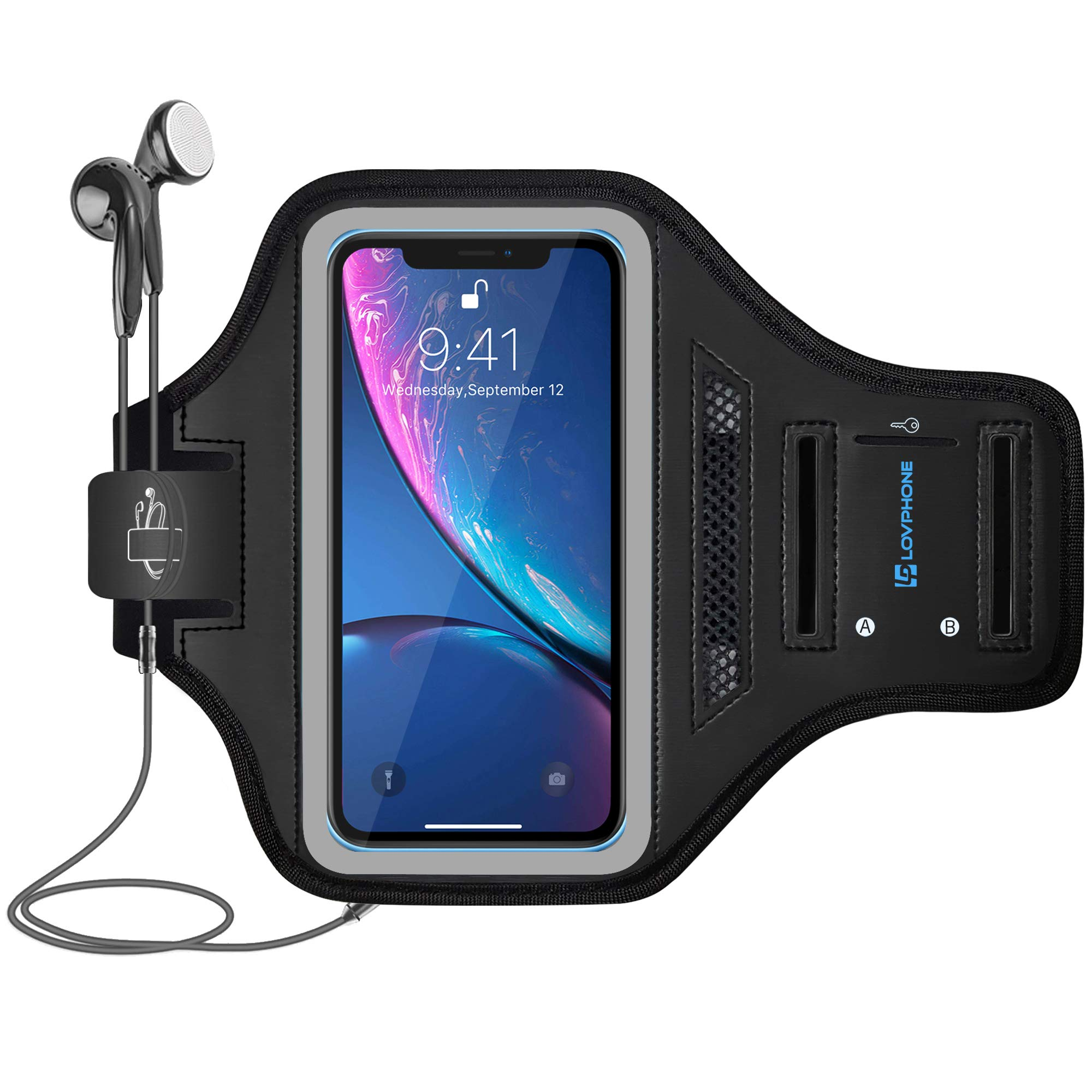 LOVPHONE iPhone 11 Pro Max/iPhone 11 Pro/iPhone Xs Max/iPhone XR Armband, Waterproof Sport Outdoor Gym Case with Running Key Holder Card Slot Phone Case Bag Armband (Gray)
