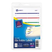 Avery Removable File Folder Labels, Assorted, 1/3 Cut, Pack of 252 (5235)