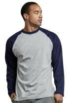 TOP PRO Men's Full Sleeve Casual Raglan Jersey Baseball Tee Shirt (L, NVY/LGR)
