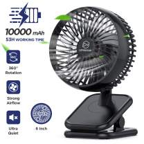 Rechargeable Battery Operated(10000mAh) Clip on Fan, 4 Speeds Strong Airflow, 6-inch 53H Long Working Time, Ultra Quiet, Personal Portable USB Desk Fan for Baby Stroller Camping Treadmill Golf Cart Office Home