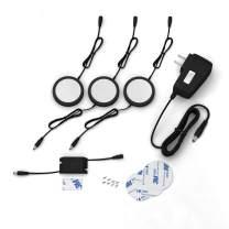 EShine Black Matte Under Cabinet Puck Lights with Hand Wave Sensor – Circular LED Cabinet Lights – Dimmable – Pack of 3, Cool White (6000K)