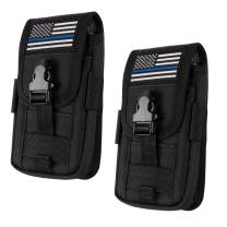 IronSeals 2 Pack Tactical Cell Phone Holster Pouch, Tactical Smartphone Pouches EDC Cellphone Case Molle Attachment Belt Holder Waist Bag with US Flag Patch