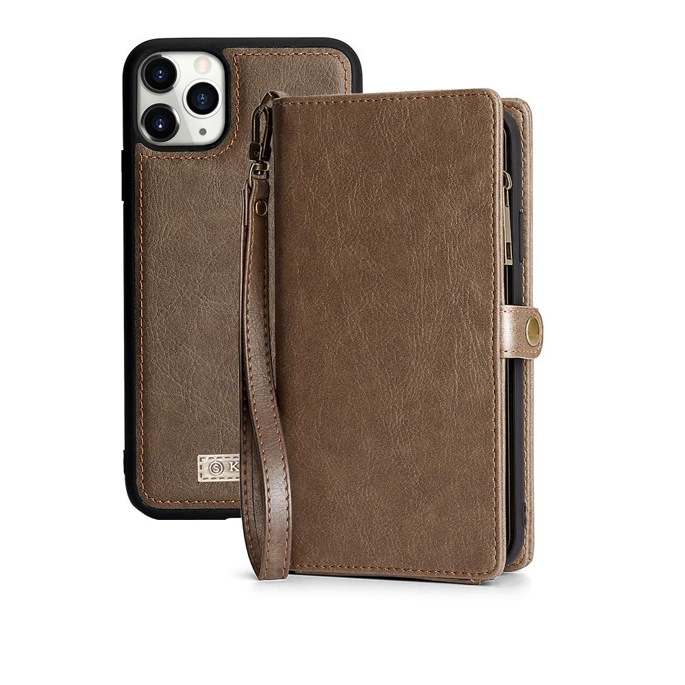 KelaSip iPhone 11 Pro Max Wallet Case, Leather Wallet Phone Case & Card Holder Buckle Magnetic Detachable,Coffee,for iPhone 11 Pro Max