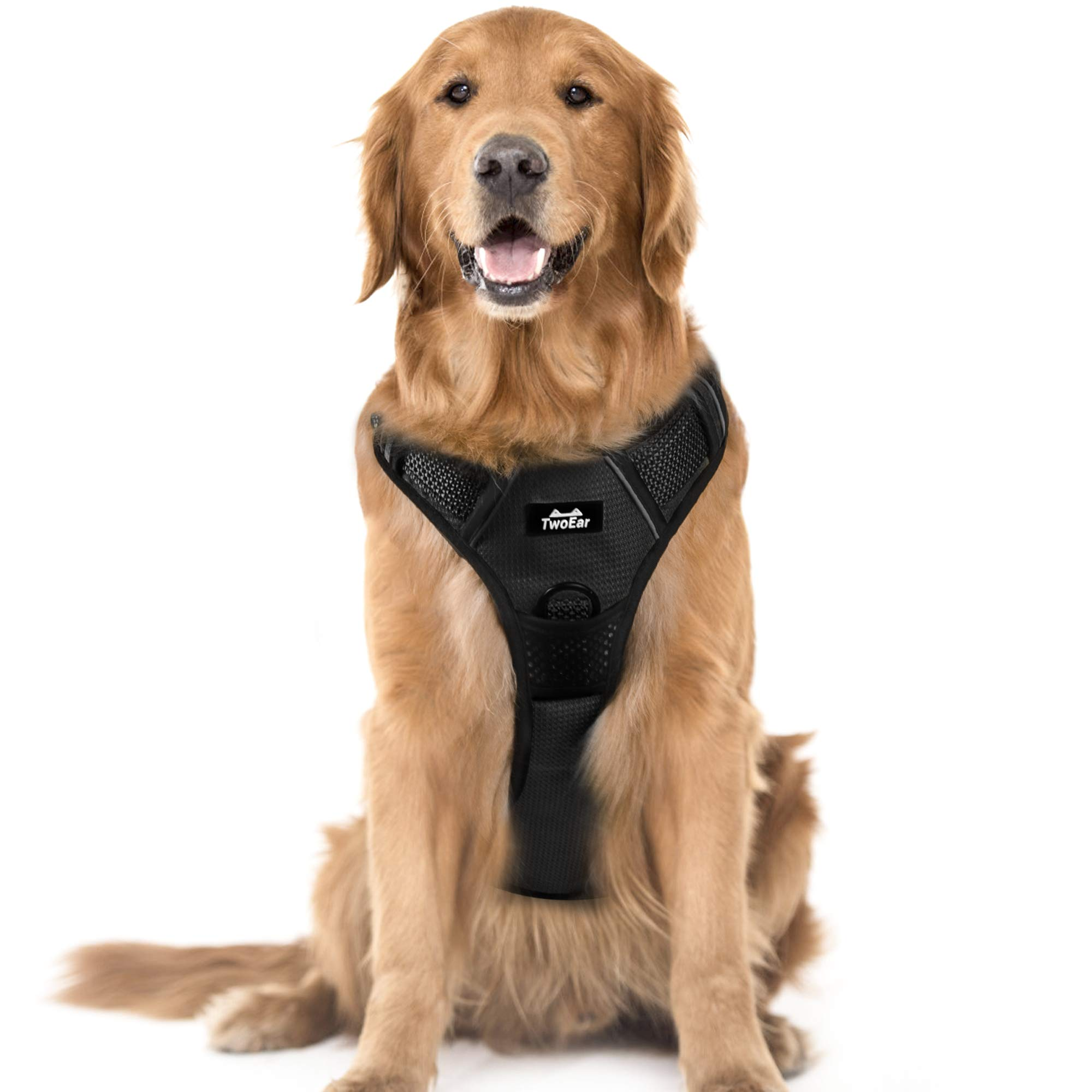 TwoEar Dog Harness, No Pull Reflective Harness Front Clip Easy Control Handle Adjustable Soft Padded Pet Vest for Puppy Small Medium Large Dogs Breed Pet(Extra Large,Black)