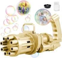 Gatling Bubble Machine, Gatling Electric Bubble Gun, 8-Hole Automatic Bubble Maker Machine, Kids Bubble Gun Outdoor Toys for Boys and Girls (Golden, Small)