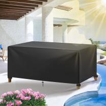GEMITTO Outdoor Patio Furniture Cover, 420D Heavy Duty Waterproof Patio Table Covers, Wind Dust Proof Anti-UV Durable Protective Covers for Bad Weather Rain Winter Snow(95.3x63.8x39.4 inch)