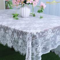 ShinyBeauty 60x120-Inch Lace Party Tablecloth 2 Pack Rustic Floral Embroidered Rectangle White Lace Table Cloth Baby Tablecloth Tea Party Tablecloth Vintage Lace Fabric Table Cover (2, 001-White)