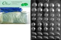 Cybrtrayd Mdk50B-N033 Tiny Shell Assortment Nautical Chocolate Candy Mold with Packaging Bundle, Includes 50 Cello Bags, 50 Blue Twist Ties, Chocolate Molding Instructions