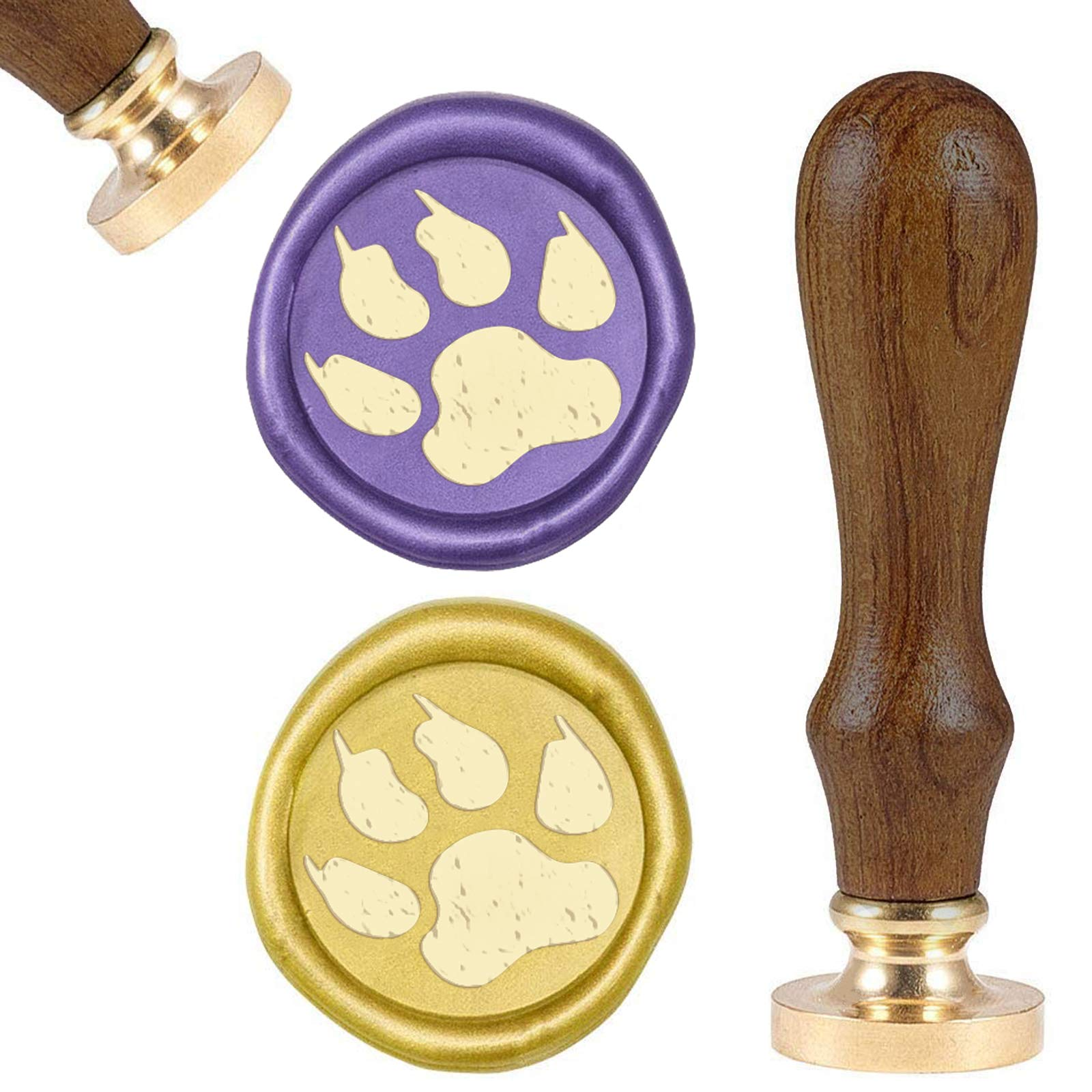 SUPERFINDINGS Animal Footprints Pattern Brass Wax Seal Stamp and Wood Handle Sets Animal Sealing Wax Stamps Retro Wood Stamp Wax Seal for Cards Envelopes, Invitations, Wine Packages