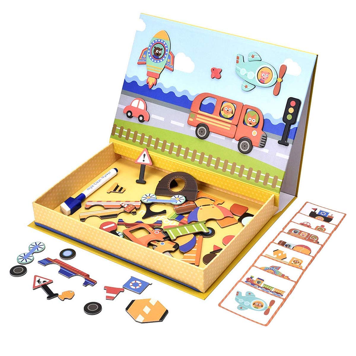 YIHUNION STEM Educational Toys Magnetic Puzzles for Kids, 57 Pieces Dry Erase Board Vehicle Jigsaw Puzzles Cardboard Drawing Board Learning Toys for Preschool Toddlers