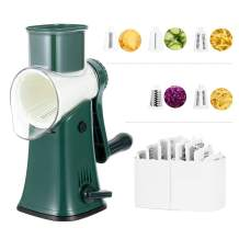 GOHOXX Rotary Cheese Grater 5 IN 1, Handheld Manual Kitchen Shredder with 5 Stainless Steel Interchangeable Blades,Easy to Clean Round Mandoline Slicer Grinder for Fruit Vegetables Waffle(Green)