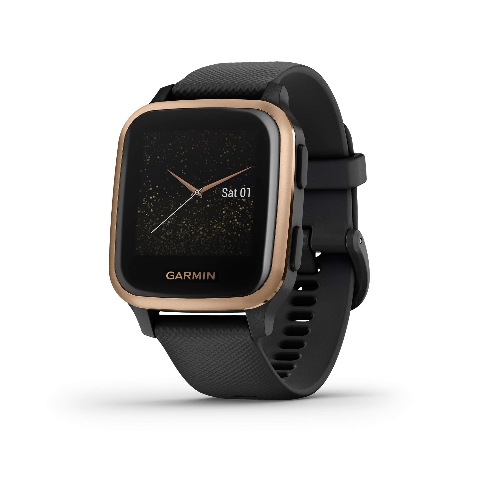 Garmin Venu Sq Music, GPS Smartwatch with Bright Touchscreen Display, Features Music and Up to 6 Days of Battery Life, Black and Rose Gold