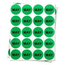 """1"""" Round - 1 Roll May Months of The Year Labels Color Coding Dot Round Self Adhesive Stickers (Lime Green Black) - 300 Labels per Package"""