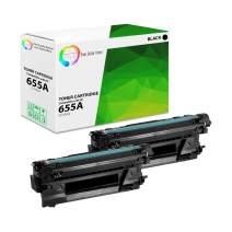 TCT Premium Compatible Toner Cartridge Replacement for HP 655A CF450A Black Works with HP Color Laserjet Enterprise M652 M653 M681 M682 Printers (12,500 Pages) - 2 Pack