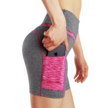 Tesuwel Women's Yoga Shorts with Pockets High Waist Stretch Tummy Control Workout Athletic Running Bike Shorts