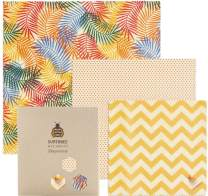 SuperBee Premium Beeswax Wraps | Set of 3: Small, Medium and Large | Long-Lasting, Organic, Eco Friendly & Ethical Trade Reusable Food Wraps - Tropical Paradise