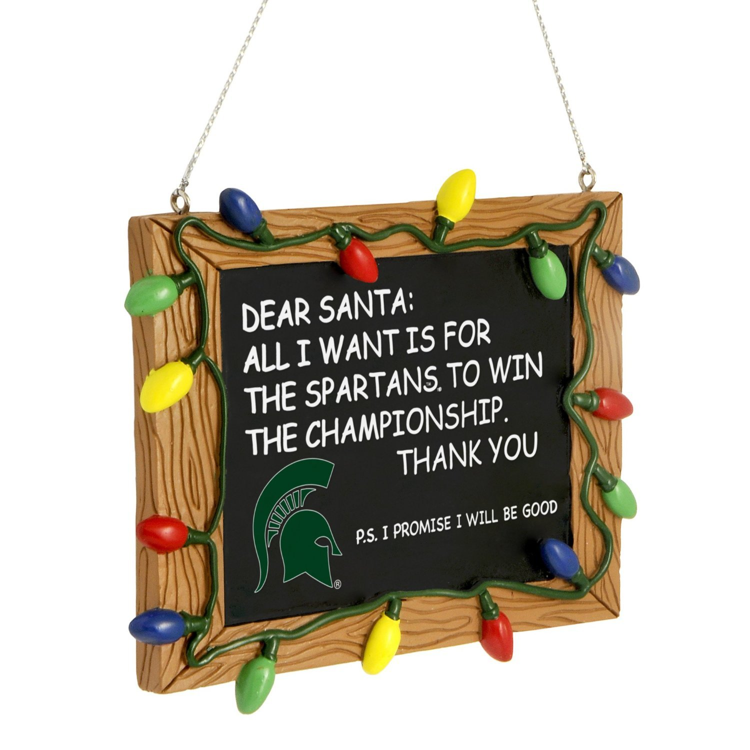 FOCO NCAA Michigan State Spartans College Team Logo Holiday Christmas Resin Chalkboard Ornament, Team Color, One Size
