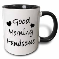3dRose Saying-Good Morning Handsome Two Tone Black Mug, 11 oz