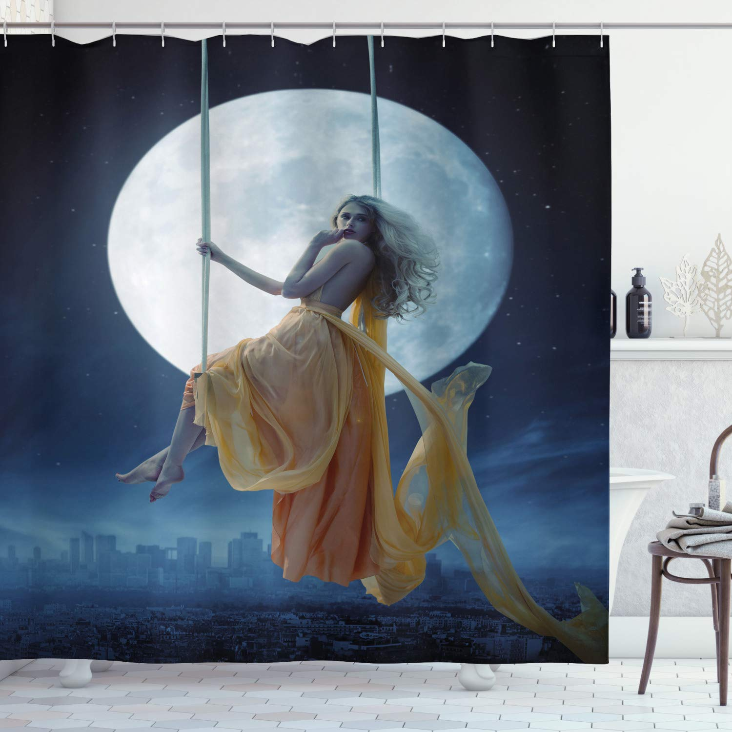 """Ambesonne Moon Shower Curtain, Yellow Haired Woman on a Swing in The Sky The Moon and The Buildings Print, Cloth Fabric Bathroom Decor Set with Hooks, 75"""" Long, Blue Yellow"""