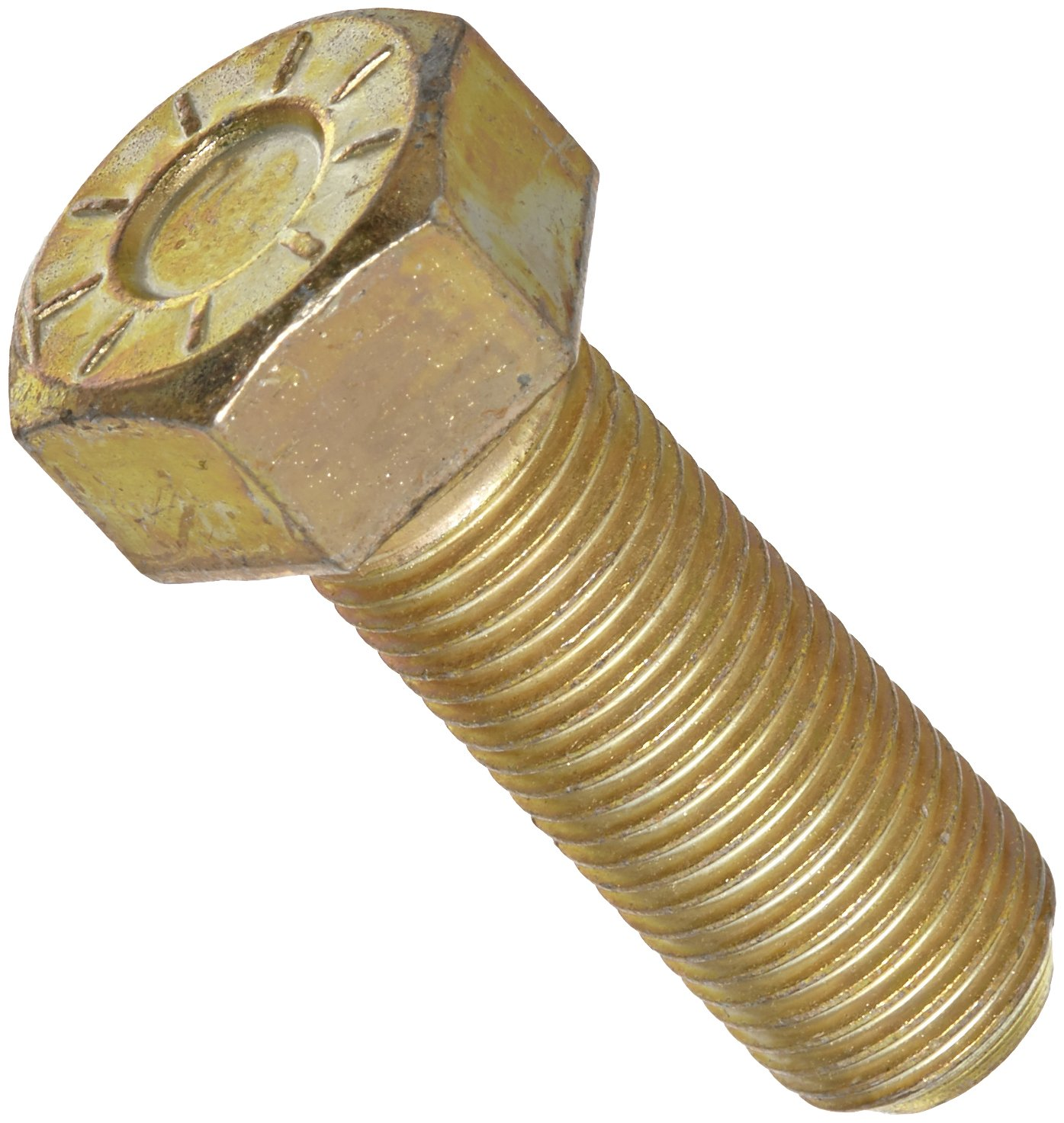 """Steel Hex Bolt, Grade 9, Zinc Yellow-Chromate Plated Finish, Hex Head, External Hex Drive, 3/4"""" Length, Fully Threaded, 3/8""""-24 Threads, Made in US (Pack of 25)"""