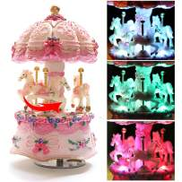 LOVE FOR YOU 3-Horse Carousel Music Box Luxury Color Change LED Light Luminous Rotating,Best Birthday Gift for Kids,Girls,Friends or Woman(Castle in The Sky, Pink)