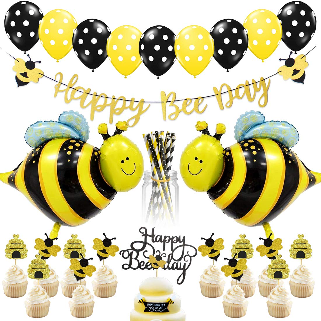 JOYMEMO Bee Party Decorations - Bumble Bee Party Decorations for Birthday and Baby Shower, Paper Straws, Bee Balloons, Happy Bee Day Banner and Cake Toppers