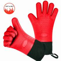 Cdyiswu BBQ Oven Gloves, Heat Resistant Grill Gloves, Kitchen Silicone Oven Mitts for Barbecue, Cooking, Baking and Housecleaning, Waterproof Non-Slip Full Finger, Hand, Wrist Protection (1 Pair, Red)