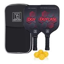 YC DGYCASI Pickleball Paddle Set of 2 Lightweight Carbon Fiber Surface Honeycomb Composite Core,Low Edge Guard Rackets Pickleball Set with 4 Balls and Racket Bag