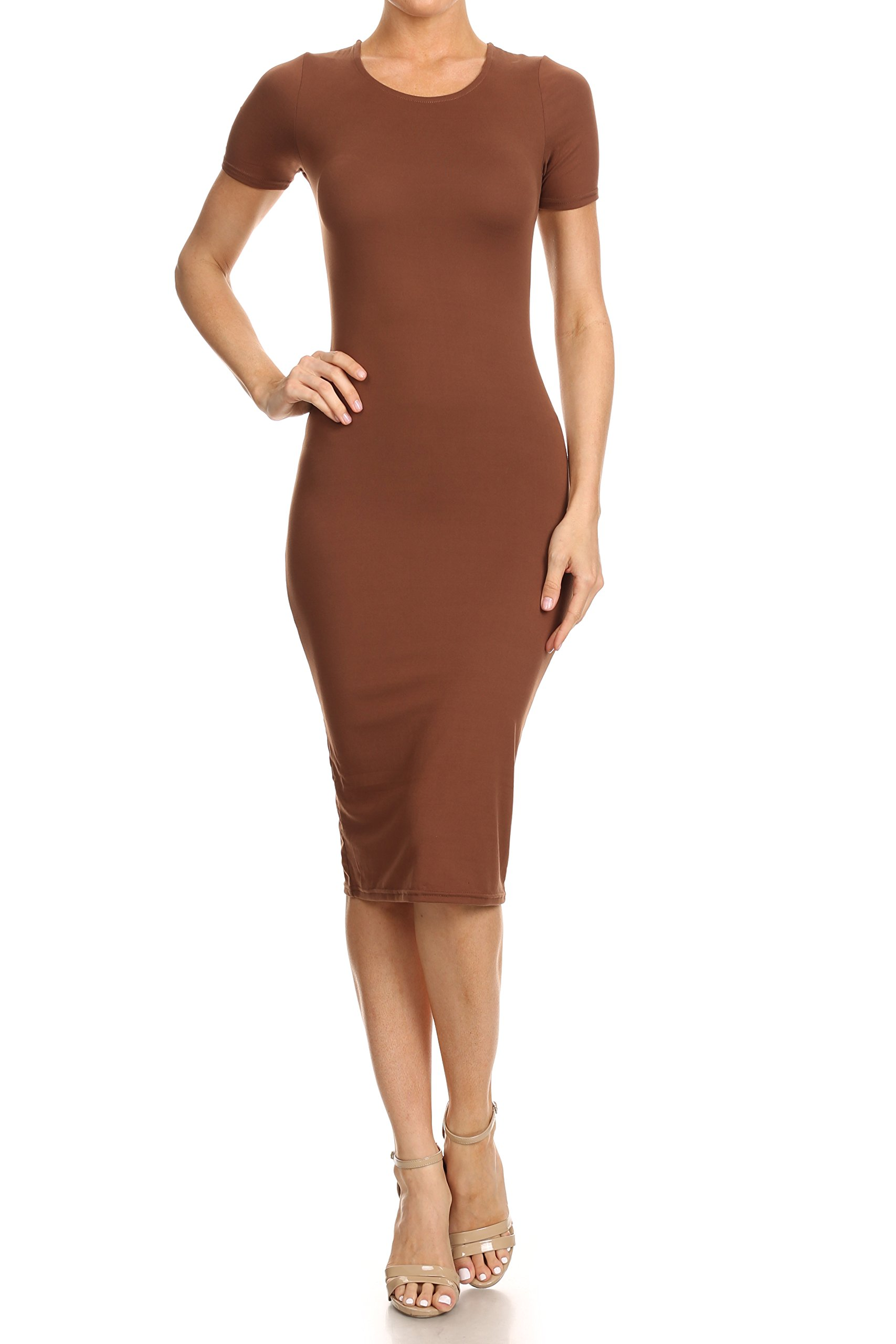 Women Ladies Cap Sleeve Midi Dress Jersey Stretch Crew Neck Bodycon Plus Size