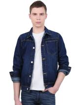 uxcell Men Casual Cotton Long Sleeve Slim Fit Vintage Denim Jean Coat Jacket