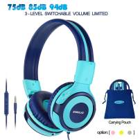 SIMOLIO Foldable Headphones for Kids with Mic, 94dB-85dB-75dB Kid Headphone with Share Port, Stereo Wired Headphones Hearing Protection for Youth Boys,Girls, Portable Pouch for School/Travel (Mint)
