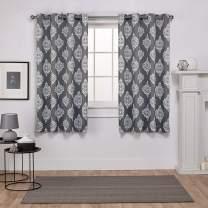 Exclusive Home Medallion Blackout Grommet Top Curtain Panel Pair, 52x63, Black Pearl, 2 Piece