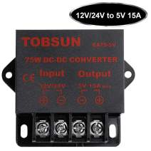 SUPERNIGHT DC Power Step Down Converter Regulator 12V / 24V to 5V 15A 75W Low Voltage Transformer Power Adapter DC-DC Voltage Reducer