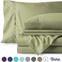 Bare Home 4 Piece 1800 Collection Deep Pocket Bed Sheet Set - Ultra-Soft Hypoallergenic - 1 Extra Pillowcase (Twin, Sage)